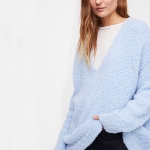 Free People • Lofty V-Neck Oversized Sweater Blue